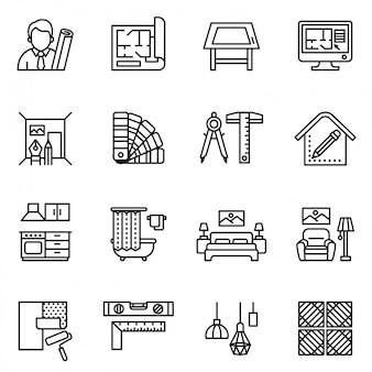 Jeu d'icônes de design d'intérieur. crosse de style ligne.