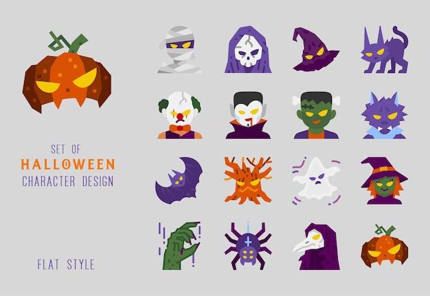 Jeu d'icônes de design plat de caractère halloween pour la décoration.