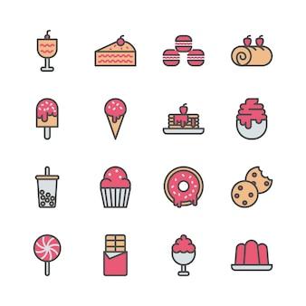 Jeu d'icônes de dessert dans la conception de couleur remplie