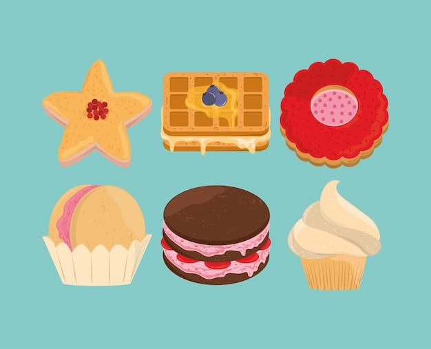 Jeu d'icônes de desserts