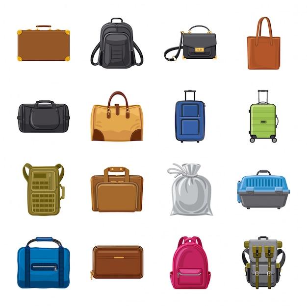 Jeu d'icônes de dessin animé de bagages.