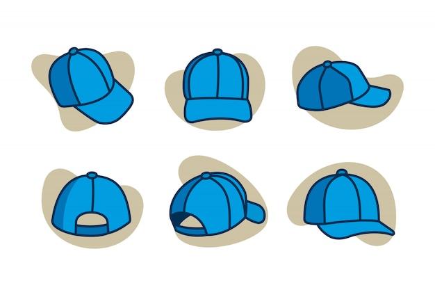 Jeu d'icônes de dessin animé de casquettes