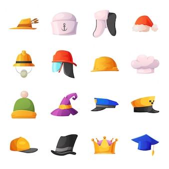 Jeu d'icônes de dessin animé de chapeau
