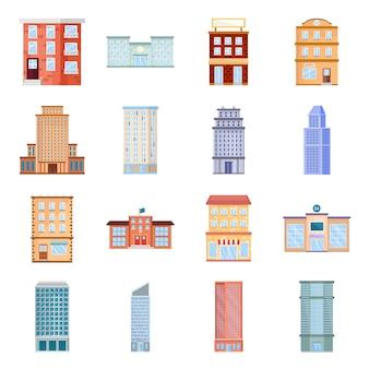 Jeu d'icônes de dessin animé de construction de ville