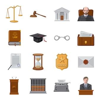 Jeu d'icônes de dessin animé de cour, tribunal et droit.