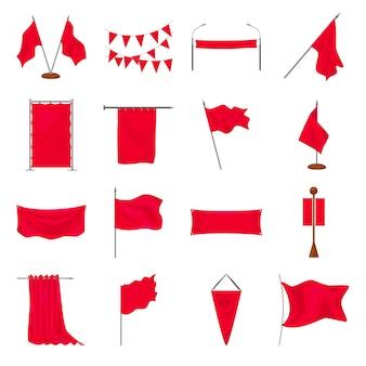 Jeu d'icônes de dessin animé de drapeau