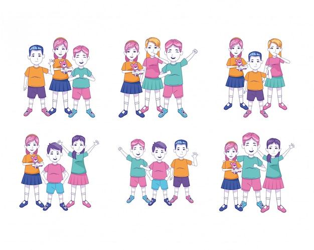 Jeu d'icônes de dessin animé enfants heureux