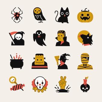 Jeu d'icônes de dessin animé halloween.
