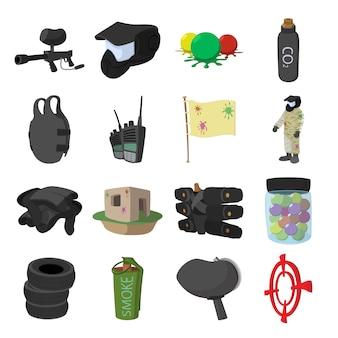 Jeu d'icônes de dessin animé de jeu de paintball pour le web et les appareils mobiles
