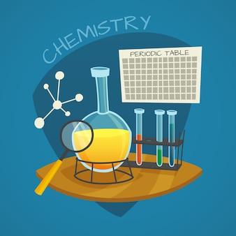 Jeu d'icônes de dessin animé laboratoire chimique