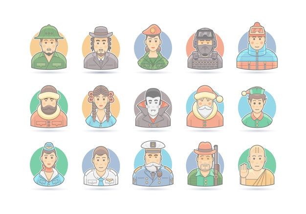 Jeu d'icônes de dessin animé de personnes. illustration de caractère. sur blanc.