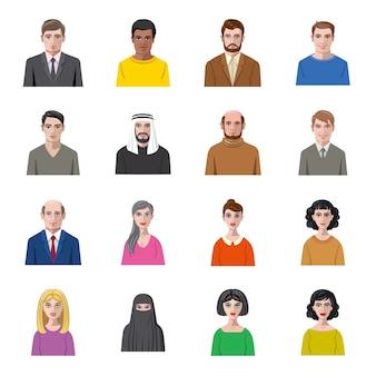 Jeu d'icônes de dessin animé de personnes.