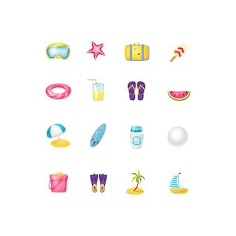 Jeu d'icônes de dessin animé de plage vector.vector illustration isolée bord de mer et été.icône ensemble de plage et accessoire.