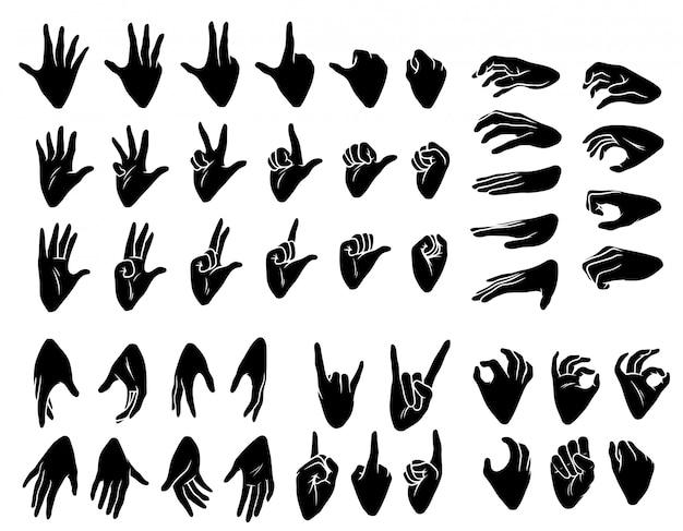 Jeu d'icônes de dessin animé silhouette mains humaines