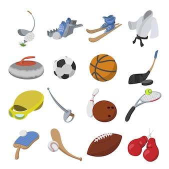 Jeu d'icônes de dessin animé sport isolé