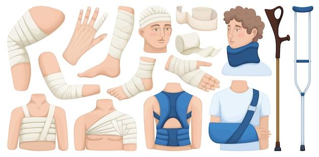 Jeu d'icônes de dessin animé de vecteur de bandage. bande d'illustration vectorielle de collection sur fond blanc. jeu d'icônes d'illustration de dessin animé isolé de bandage pour la conception web.