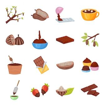 Jeu d'icônes de dessin animé de vecteur de fèves de cacao