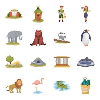 Jeu d'icônes de dessin animé de zoo.