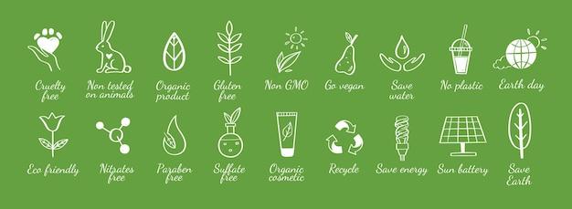 Jeu d'icônes dessinés à la main écologie écologique