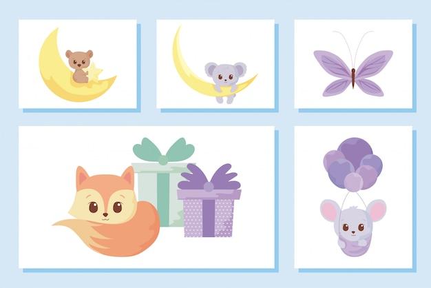 Jeu d'icônes de dessins animés animaux mignons