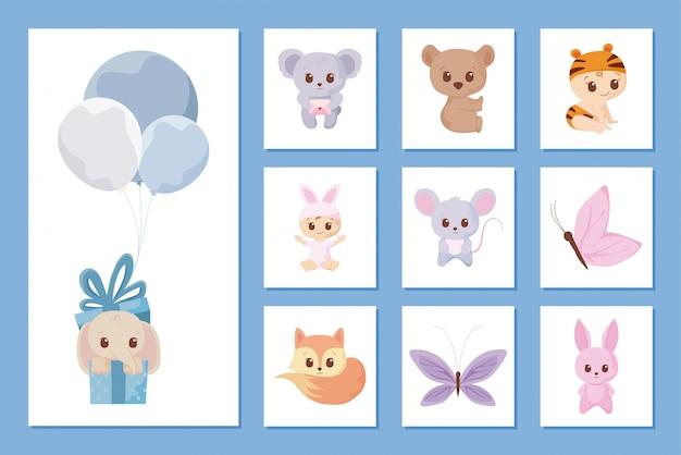 Jeu d'icônes de dessins animés de douche de bébé