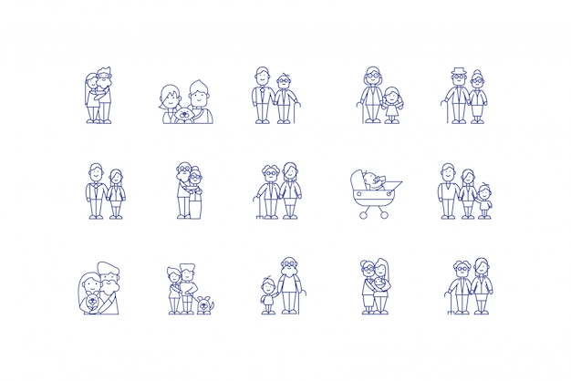 Jeu d'icônes de dessins animés familiaux isolés