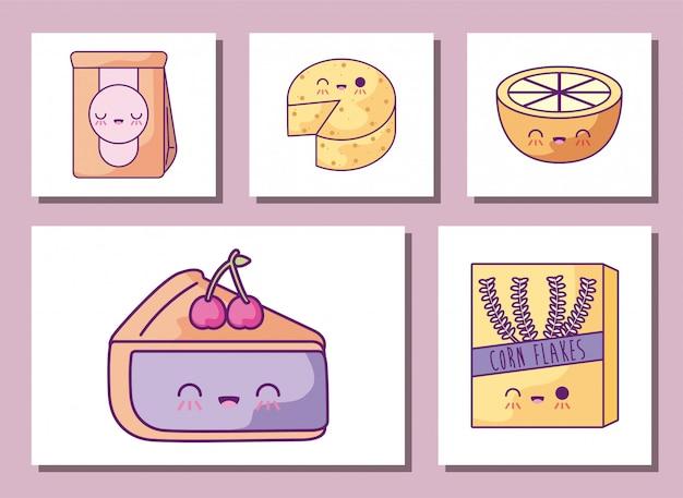 Jeu d'icônes de dessins animés petit déjeuner et nourriture
