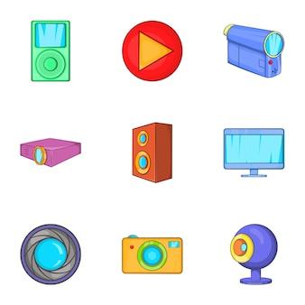 Jeu d'icônes de dispositifs électroniques, style cartoon