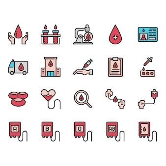 Jeu d'icônes de don de sang