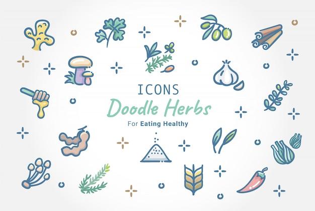 Jeu d'icônes doodle aux herbes