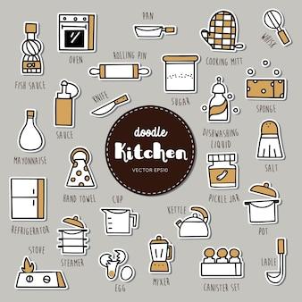 Jeu d'icônes de doodle dessinés à la main d'équipement de cuisine.