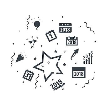 Jeu d'icônes de doodle de nouvel an sur fond blanc