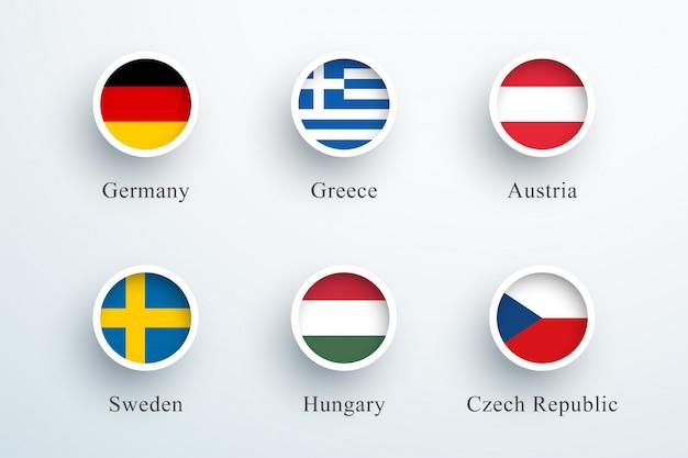 Jeu d'icônes de drapeau rond allemagne grèce autriche