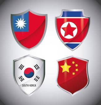 Jeu d'icônes de drapeaux asiatiques en forme de bouclier
