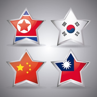 Jeu d'icônes de drapeaux asiatiques en forme d'étoile