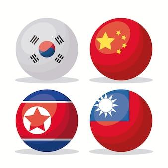 Jeu d'icônes de drapeaux asiatiques en formes de boutons
