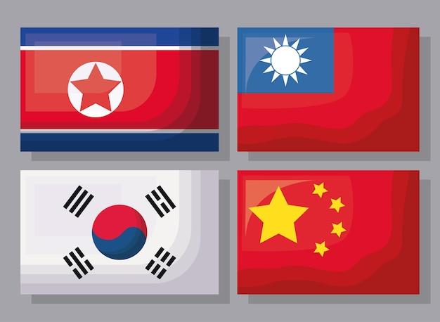 Jeu d'icônes de drapeaux asiatiques