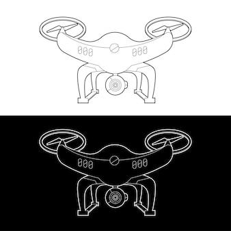 Jeu d'icônes de drones. drones graphiques contour noir et blanc contour contour illustrer