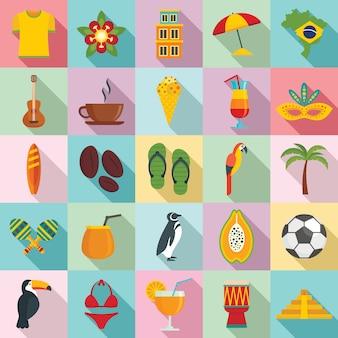 Jeu d'icônes du brésil, style plat