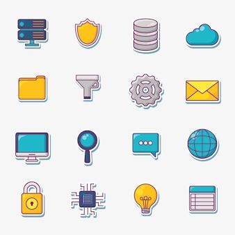 Jeu d'icônes du concept de big data