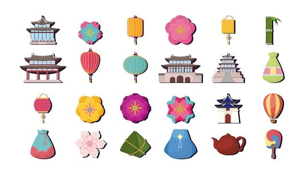 Jeu d'icônes du concept de culture d'asie