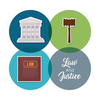 Jeu d'icônes du concept de la loi de la justice sur les cercles colorés et fond blanc