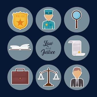 Jeu d'icônes du concept de la loi de la justice sur les cercles gris et fond bleu