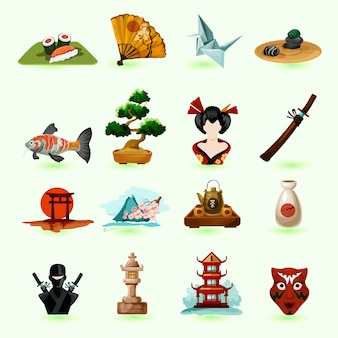 Jeu d'icônes du japon