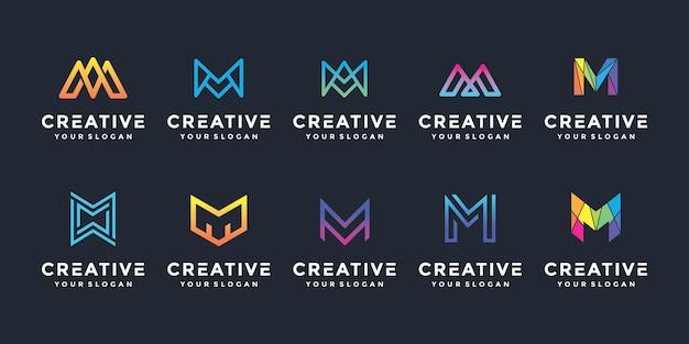 Jeu d'icônes du logo creative m lettre pour les entreprises de luxe