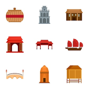 Jeu d'icônes du vietnam. ensemble plat de 9 icônes vectorielles du vietnam