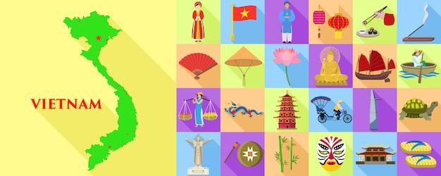 Jeu d'icônes du vietnam. ensemble plat de carte et d'éléments du vietnam