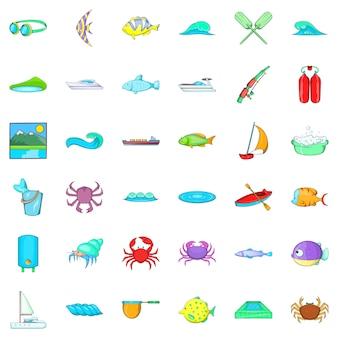 Jeu d'icônes de l'eau propre, style cartoon