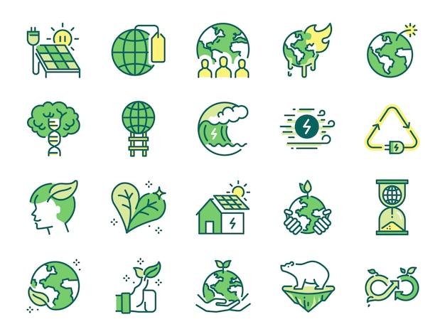 Jeu d'icônes de l'écologie.