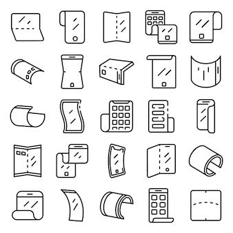 Jeu d'icônes d'écran flexible, style de contour